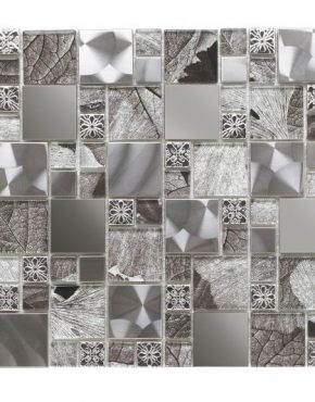 Verona Saturn Silver Glass/Metal Mix Modular Mosaic