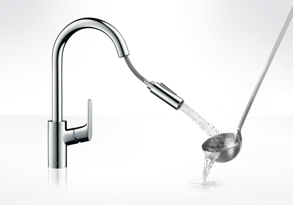 Hansgrohe Focus Single Lever Kitchen Mixer 240 with Pull Out Spray ...
