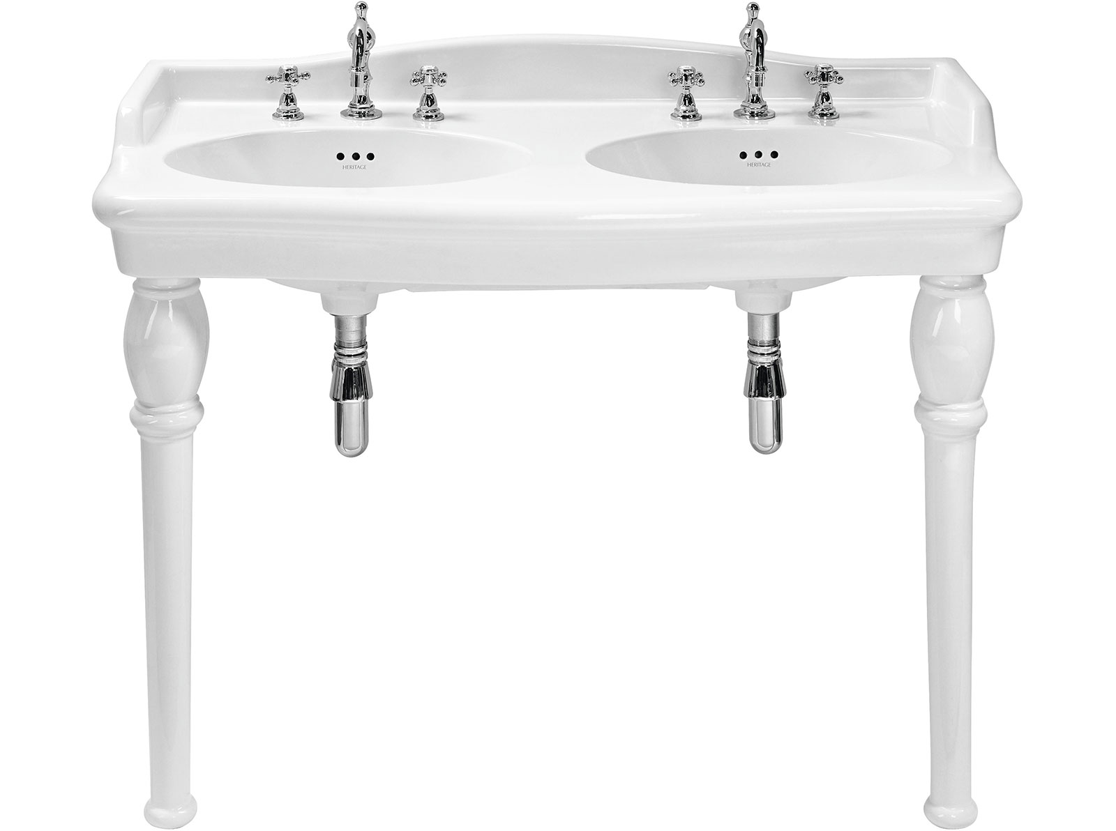 Heritage victoria double console basin leigh plumbing for Double bathroom sink basin